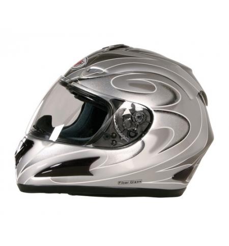 Kj-1, casco integrale fiberglass - argento - xl