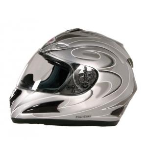 KJ-1, casco integrale fiberglass - Argento - XS