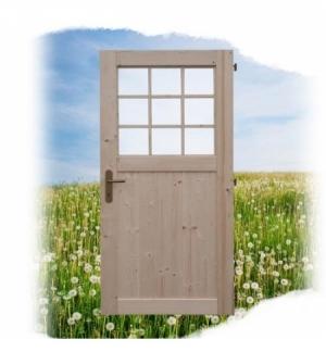 Porta con vetro singola per casetta Texas