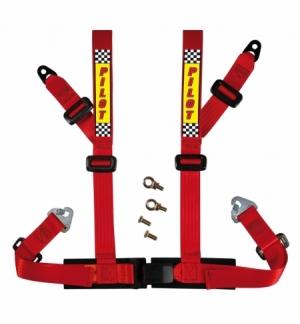 """Cintura di sicurezza 4 punti rossa c/omologazione """"e"""""""