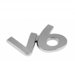 """Emblema cromato """"v6"""""""