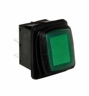 Interruttore impermeabile 12/24v con led verde