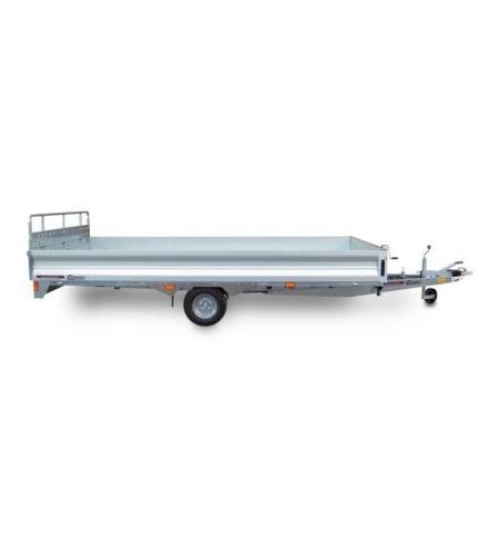 Carrello rimorchio trasporto cose con rampe di salita PA15C basculante con martinetto meccanico
