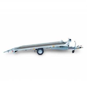 Carrello rimorchio trasporto cose con rampe di salita PA15 basculante con martinetto meccanico