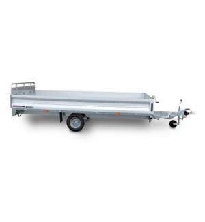 Carrello rimorchio trasporto cose con rampe di salita PT15L basculante con martinetto meccanico