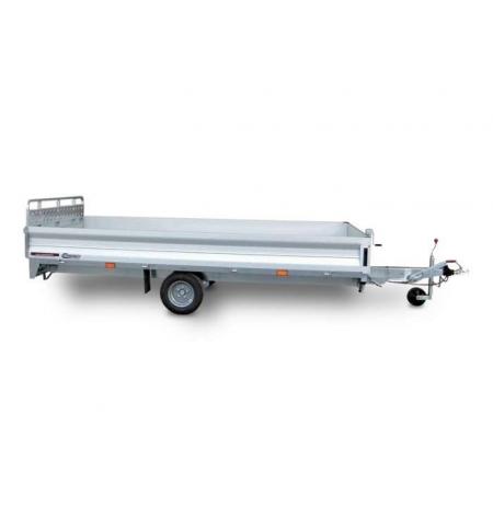 Carrello rimorchio trasporto cose con rampe di salita PT15XL basculante con martinetto meccanico