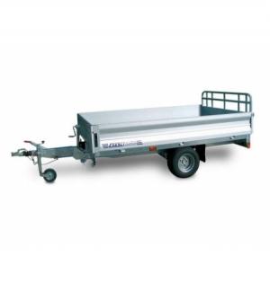 Carrello rimorchio trasporto cose con rampe di salita PT15 basculante con martinetto meccanico